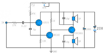mono power amplifier a1015, bd140 ,tip2955 electronic components
